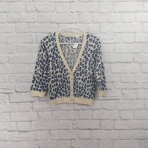 Autumn Cashmere | Blue Cheetah Print Cropped Cardi